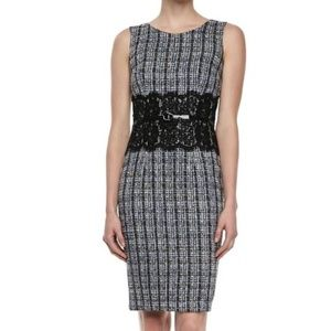 David Meister Tweed Lace Wast Dress Size 8